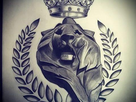 Классный вариант татуировки эскиз лев с короной – можно использовать для тату лев с короной на предплечье