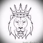 Классный вариант тату эскиз лев с короной – можно использовать для тату лев с короной на бедре