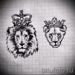 Достойный вариант тату эскиз лев с короной – можно использовать для тату голова льва короной