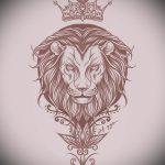 Интересный вариант тату эскиз лев с короной – можно использовать для тату лев с короной реализм