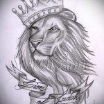 Уникальный вариант тату эскиз лев с короной – можно использовать для эскиз тату лев с короной фото