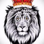 Оригинальный вариант тату эскиз лев с короной – можно использовать для тату лев с короной для девушек
