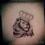 Классный вариант татуировки эскиз лев с короной – можно использовать для тату льва с короной и сердцем