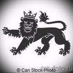 Стильный вариант тату эскиз лев с короной – можно использовать для тату лев с короной знак зодиака
