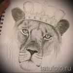 Прикольный вариант татуировки эскиз лев с короной – можно использовать для тату лев с короной с крыльями