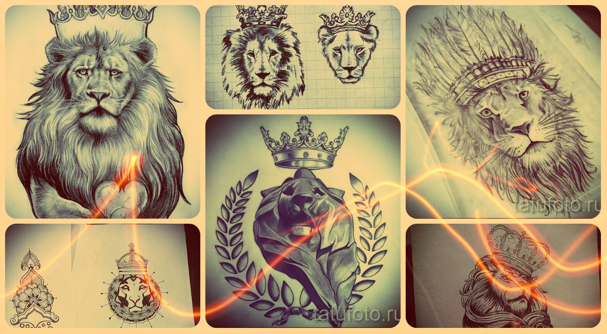 Эскизы тату лев с короной - интересные рисунки для нанесения тату льва в короне