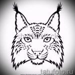 Интересный вариант тату эскиз рысь – можно использовать для тату рысь на запястье