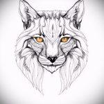 Уникальный вариант тату эскиз рысь – можно использовать для тату рысь акварель