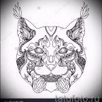 Интересный вариант татуировки эскиз рысь – можно использовать для тату рысь на шее