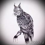 Интересный вариант татуировки эскиз рысь – можно использовать для тату рысь для мужчин