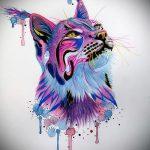Оригинальный вариант татуировки эскиз рысь – можно использовать для тату рысь и волк