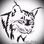 Уникальный вариант татуировки эскиз рысь – можно использовать для тату на предплечье рысь
