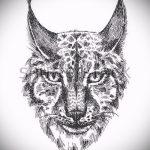 Прикольный вариант татуировки эскиз рысь – можно использовать для тату рысь для мужчин