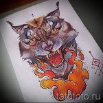 Прикольный вариант татуировки эскиз рысь – можно использовать для тату рысь акварель
