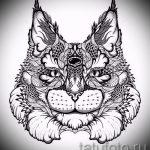 Стильный вариант татуировки эскиз рысь – можно использовать для тату рысь графика
