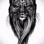 Интересный вариант татуировки эскиз рысь – можно использовать для тату рысь в короне