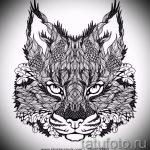Стильный вариант тату эскиз рысь – можно использовать для тату на предплечье рысь
