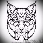 Прикольный вариант татуировки эскиз рысь – можно использовать для рысь татуировка на плече