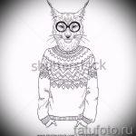 Оригинальный вариант тату эскиз рысь – можно использовать для рысь тату для девушек
