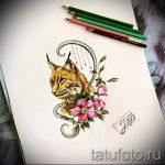 Интересный вариант тату эскиз рысь – можно использовать для тату рысь и волк
