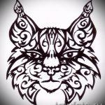 Уникальный вариант татуировки эскиз рысь – можно использовать для тату рысь на плече