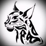 Прикольный вариант татуировки эскиз рысь – можно использовать для тату рысь на ноге
