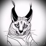 Оригинальный вариант тату эскиз рысь – можно использовать для тату рысь у девушки