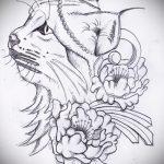 Оригинальный вариант татуировки эскиз рысь – можно использовать для тату рысь акварель