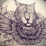 Оригинальный вариант тату эскиз рысь – можно использовать для тату рысь графика