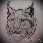Уникальный вариант татуировки эскиз рысь – можно использовать для тату рысь у девушки