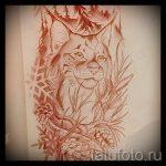 Стильный вариант татуировки эскиз рысь – можно использовать для тату рысь для мужчин