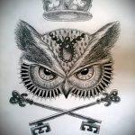 Уникальный вариант тату эскиз филин – можно использовать для тату филина на шее