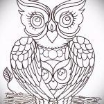 Интересный вариант татуировки эскиз филин – можно использовать для тату филин на запястье