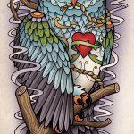 Стильный вариант тату эскиз филин – можно использовать для тату филин и ловец снов