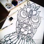 Достойный вариант татуировки эскиз филин – можно использовать для тату филин на руке