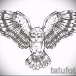 Оригинальный вариант тату эскиз филин – можно использовать для тату филина на шее