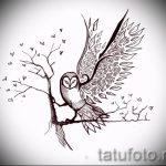 Прикольный вариант татуировки эскиз филин – можно использовать для тату филин тюремное значение