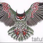 Стильный вариант татуировки эскиз филин – можно использовать для тату филин реализм