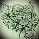 Уникальный вариант татуировки эскиз филин – можно использовать для тату филин олд скул