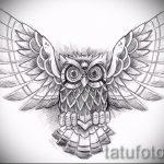 Достойный вариант тату эскиз филин – можно использовать для тату филина на ноге