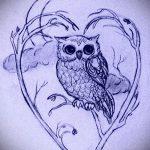 Уникальный вариант татуировки эскиз филин – можно использовать для тату филин на предплечье