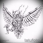 Интересный вариант татуировки эскиз филин – можно использовать для тату филина на предплечье