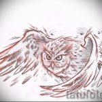 Прикольный вариант татуировки эскиз филин – можно использовать для тату филин и ловец снов