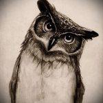 Оригинальный вариант татуировки эскиз филин – можно использовать для тату филин сова