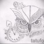 Стильный вариант татуировки эскиз филин – можно использовать для тату филин на шее