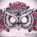 Классный вариант тату эскиз филин – можно использовать для значение тату филин или сова