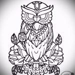 Классный вариант татуировки эскиз филин – можно использовать для тату филин на плече