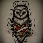Прикольный вариант татуировки эскиз филин – можно использовать для татуировка филин в треугольник