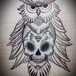 Оригинальный вариант татуировки эскиз филин – можно использовать для тату филин рука