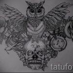 Оригинальный вариант тату эскиз филин – можно использовать для тату филин реализм
